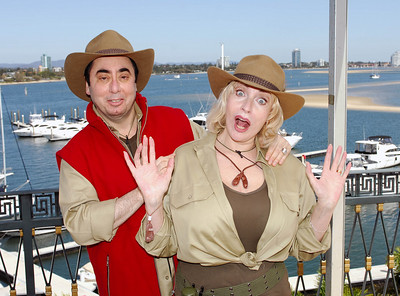 I'm A Celebrity contestants David Gest and Faith Brown show off their jungle outfits - PHOTO: CAMERON LAIRD (Ph: 0418238811)