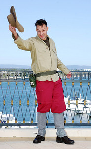 I'm A Celebrity contestant Toby Anstis shows off his jungle outfit - PHOTO: CAMERON LAIRD (Ph: 0418238811)