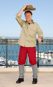 I'm A Celebrity contestant Jason Donovan shows off his jungle outfit - PHOTO: CAMERON LAIRD (Ph: 0418238811)