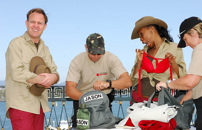 I'm A Celebrity contestants Jason Donovan and Phina Oruche get searched for contraband - PHOTO: CAMERON LAIRD (Ph: 0418238811)
