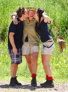 """I'm A Celebrity... Get Me Out Of Here"" contestants celebrate the end of the fifth series.  With an average of over 10 million viewers a night in the UK the show was another success for ITV television - (from left) Sid Owen (3rd place), Carol Thatcher (winner) and Sheree Murphy (runner-up) - PHOTO: CAMERON LAIRD (Ph: +61 418238811)"