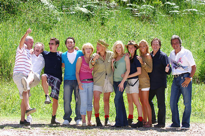 """I'm A Celebrity... Get Me Out Of Here"" contestants celebrate the end of the fifth series.  With an average of over 10 million viewers a night in the UK the show was another success for ITV television - (from left) Tommy Cannon, Bobby Ball, Sid Owen, Antony Costa, Jilly Goolden, Carol Thatcher (winner), Kimberley Davies, Sheree Murphy (runner-up), Jenny Frost, Jimmy Osmond and David Dickinson - PHOTO: CAMERON LAIRD (Ph: +61 418238811)"