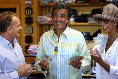 """I'm A Celebrity... Get Me Out Of Here"" star David Dickinson shops for clothes with wife Lorne.  He was on a real ""Bargain Hunt"", battling with shopkeepers for a low price on exclusive menswear - PHOTO: CAMERON LAIRD (Ph: +61 418238811)"