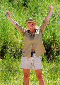 """I'm A Celebrity... Get Me Out Of Here"" contestants celebrate the end of the fifth series.  With an average of over 10 million viewers a night in the UK the show was another success for ITV television - Carol Thatcher (winner) - PHOTO: CAMERON LAIRD (Ph: +61 418238811)"