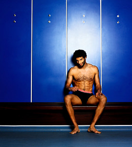 David James.  England and Portsmouth goalkeeper.  This was part of an ad campaign to reduce testicular cancer.  Shot in the changing rooms of Portsmouth FC the 'Keeping Your Eye On The Ball' campaign was a charity partnership with Debenhams designer Jasper Conran and the Everyman charity.  Despite the very serious subject matter he made the shoot a very light hearted affair.  The clients wanted David to wear boxers but, even though it was for charity, he was adamant they were just not 'secure' enough!