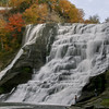 A fisherman near the falls while Bill taking a picture of Ithaca Falls in Ithaca, New York - October 21, 2009