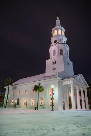 Saint Michael's Church on a Snowy Winter Night