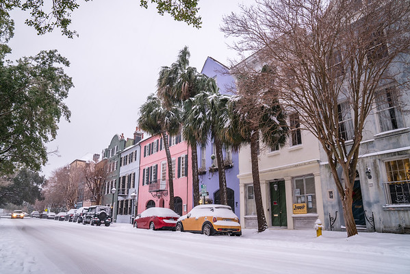 Rainbow Row Blanketed in Snow