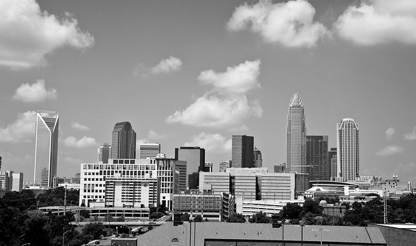 Charlotte, North Carolina, Skyline in Black & White