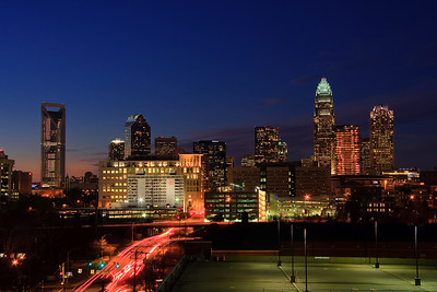 Charlotte, North Carolina (Includes the new Duke Energy Center Tower for Wells Fargo Bank)  Skyline at Early Evening