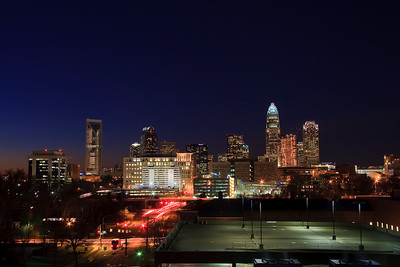 Charlotte, North Carolina (Includes the new Duke Energy Center Tower for Wells Fargo Bank)  Skyline at Early Evening - Room for text in the bottom right corner.