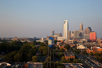 Charlotte skyline with the Panthers Stadium  Taken late afternoon with the sun shining on the buildings