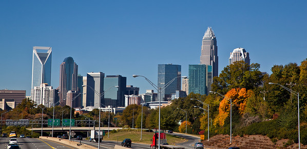 Charlotte skyline from Hawthrone Street in the fall