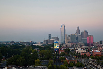 Charlotte skyline and Panthers Stadium, early evening