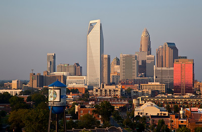 Charlotte skyline with South End Water Tower  Looks good as a 20x30 Ready to Hang Mounted Print