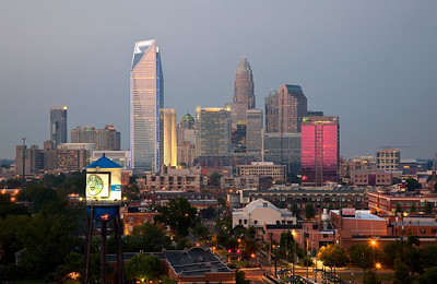 Charlotte Skyline Early Evening - Duke Energy Center Tower is lighting up blue