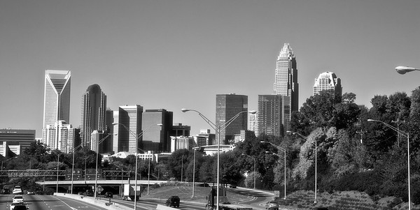 Charlotte skyline from Hawthrone Street in Black & White with a soft focus finish