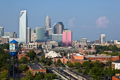 Charlotte skyline taken from Historic South End, pretty pink clouds, South End Water Tower  Looks good as a 20x30 Box Frame