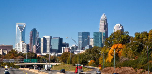 Charlotte skyline from Hawthrone Street in the fall with a soft focus finish  This one looks good as 10x25 Box Framed!