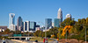 Charlotte skyline from Hawthrone Street in the fall with a soft focus finish