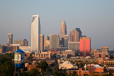 Charlotte skyline with South End Water Tower