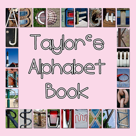 """6""""x6"""" Hardcover Children's Alphabet Book With Child's Name (Pink)"""