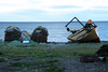 Crab/Lobster pots and fishing boat along the Strait of Magellan.