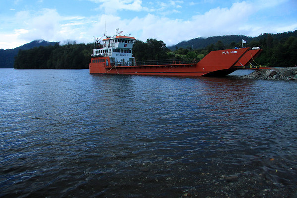 Auto ferry at Puerto Fuy mountain village - on Lago Pirehueico (glacial formed), situated at about 2,000 ft. (610 m), a 16 mi. (26 km) transport thru the Huilo-Huilo Reserve, to the village of Pirehueico - Los Rios region.