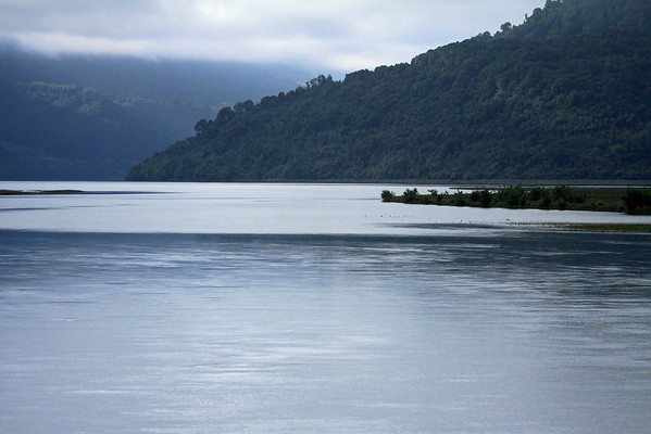 Mouth of Rio Petrohue - flowing into the northern end of the Reloncavi Estuario (estuary), and the Reloncavi Fjord (the northern most glacial fjord, of the Patagonia Andes).