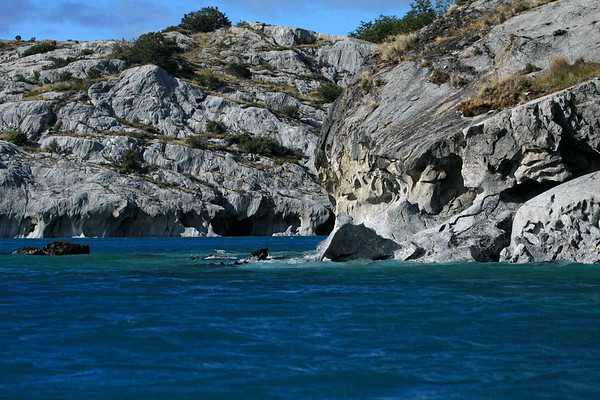 Water eroded and sculpted metamorphic marble, along the western shoreline of Lago Carrera - the massive marble peninsula, south of Puerto Tranqilo (village) - Aisen region.