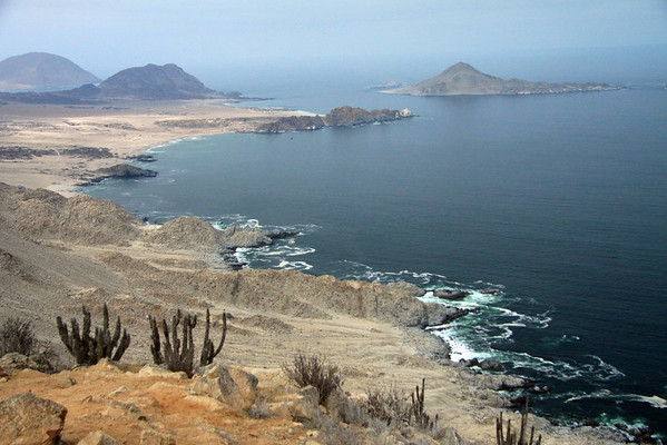From the cliff along the Coastal Range, at about 1,040 ft. (317 m) - viewing south-southwestward across the Caleta Pan Azucar and Punta Rodriguez - to Isla Pan Azucar (r), rising to about 525 ft. (160 m) - Cerro Soldado (c), peaking near 755 ft. (130 m) - and Cerro Castillo (l), topping at around 1,030 ft. (314 m) - Pan de Azucar National Park - Atacama region.