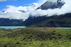 Beyond the cushion plants and shrubs, to Lago Nordenskjold - and among the stratus cloud, to Cuernos Este and Principal (r) - Cerro Paine Grande (r), Cumbres Principal and Central, along with Punta Bariloche.