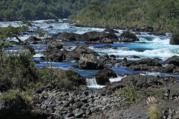 Up the Rio Petrohue, sourced from the Lago Todos los Santos (All Saints Lake) - and fused with the igneous rock and Valdivian vegetation.