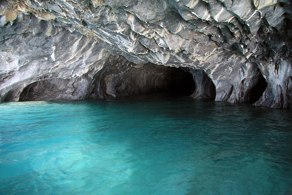 Glacial milk or rock flour water, of Lago Carrera - along the calcite (carbonate mineral) marble sea caves.