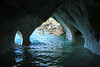 Water sculpted marble arches, along the entrance into a sea cave - along the western shoreline of Lago Carrera.