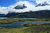 Across an endorheic lake (snow melt and rain water only), to the glacial lake of Nordenskjold beyond - with Mt. Almirante (r) - Cuernos del Paine (c), Este and Principal - with Cerro Paine Grande (l), Cumbre Principal.