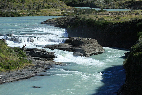 Northward view of the Cascada del Río Paine - Paine River Waterfall (consisting of a cascade and chute falls) - Torres del Paine National Park - Magallanes region.