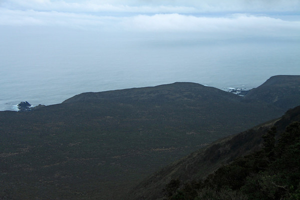 Waves breaking upon Punta Talinay (r), and the peaked sea stacks (l) - from the upper ridge of the Cordillera Talinay.