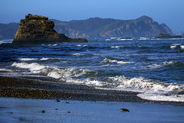 Southern rocky shoreline of Bahia Cucao - beyond the Cape Gulls upon the sunlit sea stack - to the eroded coastal cliffs, at Punta Pirulil, and its adjacent sea stacks - western Chiloé Island.