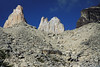 Up the glaciated moraine - to Torre Central (l) - Torre Norte (c), and Cerro Nido Condor (r).