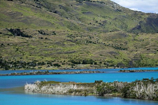 The glacial milk/flour water of Rio Paine - to the lower southern slope of Sierra Toro.