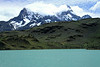 Across glacial flour/milk water of Lago Pehoé - to Cerro Paine Grande, with Cumbre Principal (r) up in the clouds - and Bariloche Point (l), with the hanging glacier between.