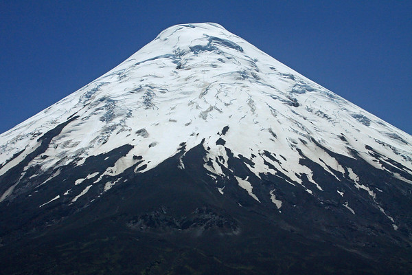 Seracs and hanging glaciers, along the southeastern face, of Volcan Osorno.