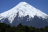 Glacial ice upon the conical peak, of Volcan Osorno.