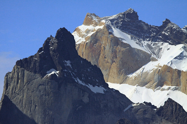 From Cuernos Este (east horn), peaking at around 7,218 ft. (2,200 m) - to the sunlit peak of Mt. Almirante Nieto, rising to about 8,753 ft. (2,668 m).
