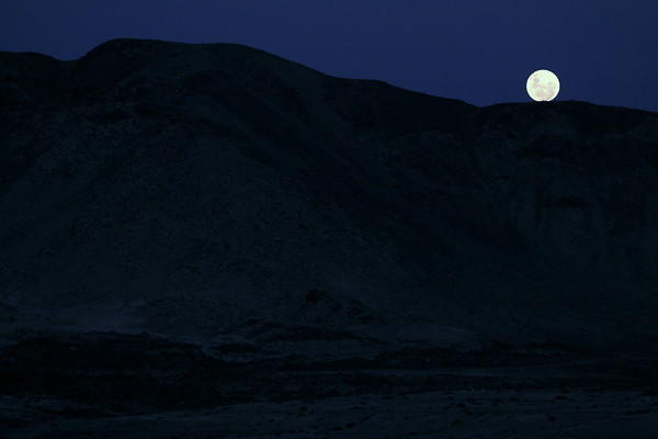 Full Moon over the Cordillera Costa (Coastal Range) - from here at Caleta Pan Azucar (Sweet Bread Cove) - Pan Azucar National Park - Atacama region.