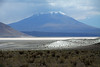 Beyond the xeric shrubs of the Central Andean Dry Puna ecoregion - across the northern end of the Salar Carcote - viewing southwestward beyond the slope of Cerro Puntilla (l) - to the sunlit and cloud-shadowed Volcan Palpana, rising to about 19,761 ft. (6,023 m) - Alto Loa National Reserve - northern Antofagasta region.