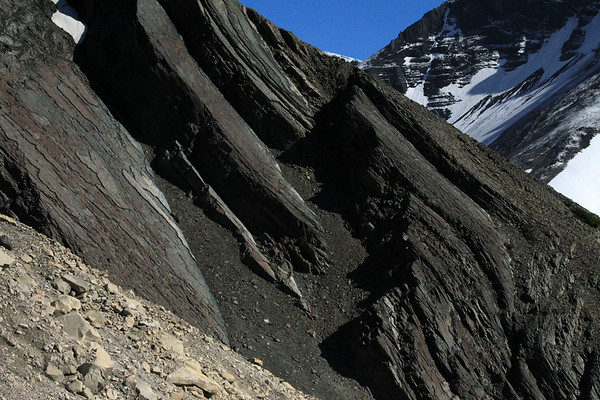 From the igneous granite glacial till - to the metamorphic rock along the slope of Cerro Nido Condor - and distal snow-cloaked and lower slope of Cerro Koch.