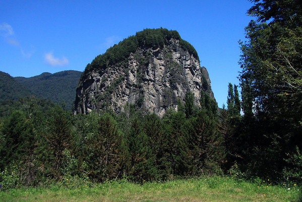 Cerro Queque Ingles (English Cake) - a glacial formed igneous outcrop, rising about 1,000 ft. (300 m), above the Rio Simpson Valley - Aisen district.