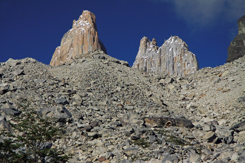 Past the southern beech tree and glacial moraine - to Torre Central (l) - Torre Norte (c) - and Cerro Nido Condor (r).